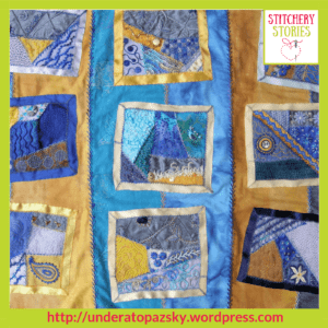 Cornwall Holiday Crazy Patchwork by Alex Hall Stitchery Stories Textile Art Podcast Guest