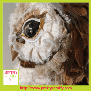 Ema The Owl textile sculpture by Bryony Jennings Stitchery Stories Textile Art Podcast Guest