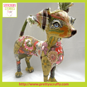 Gloria the Chihuahua textile sculpture by Bryony Jennings Stitchery Stories Textile Art Podcast Guest
