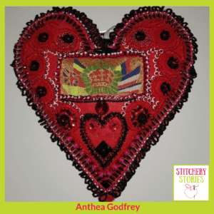 Heart for 100 Hearts exhibition Anthea Godfrey Stitchery Stories Textile Art Podcast Guest