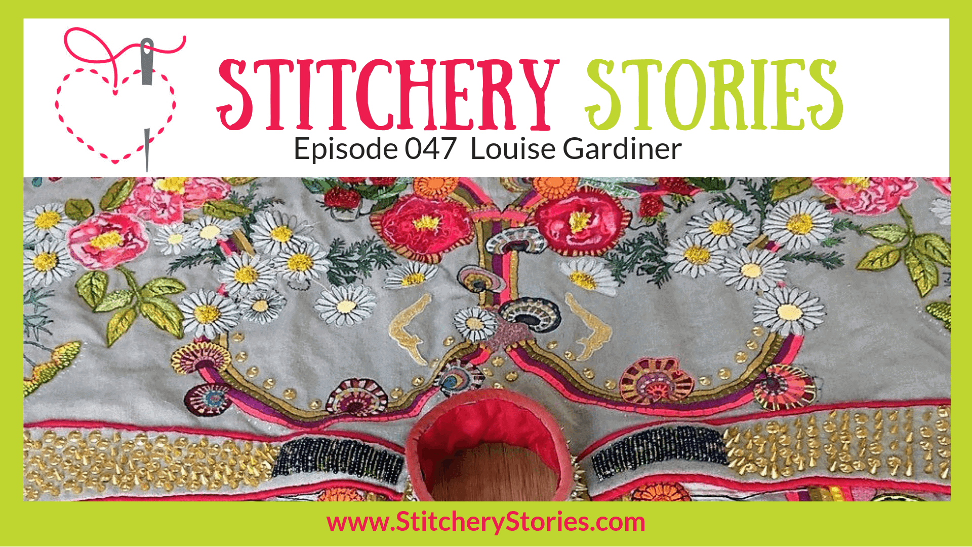 Louise Gardiner Textile Artist Stitchery Stories Textile Art Podcast Wide Art
