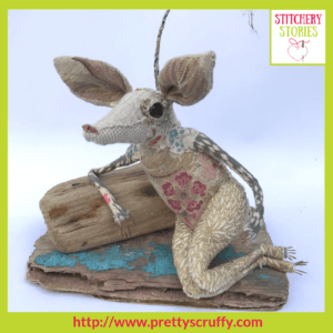 Mimi Mouse textile sculpture by Bryony Jennings Stitchery Stories Textile Art Podcast Guest