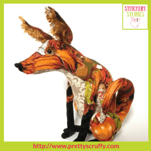 Renard The Fox textile sculpture by Bryony Jennings Stitchery Stories Textile Art Podcast Guest