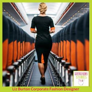EasyJet cabin crew uniform_ Liz Burton Stitchery Stories Podcast Guest