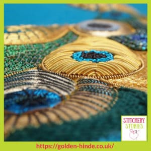 Goldwork Detail Sarah Rakestraw Stitchery Stories Textile Art Podcast Guest