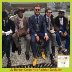 Men in tailoring at Pitti Uomo_ Liz Burton Stitchery Stories Podcast Guest