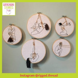 Rigged Thread exhibited hoops Stitchery Stories Podcast Guest