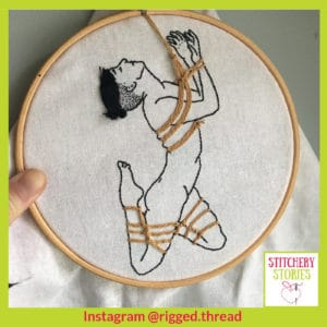 Rigged Thread hoop 4 Stitchery Stories Podcast Guest