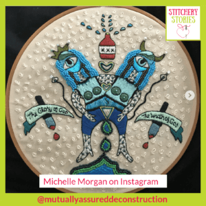 2 headed figure by Michelle Morgan Stitchery Stories Embroidery Podcast Guest