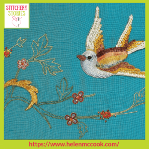 Goldwork bird_ Helen McCook Stitchery Stories Embroidery Podcast Guest