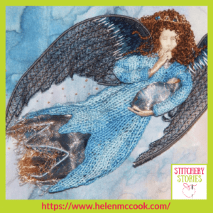 Stumpwork Angel_ Helen McCook Stitchery Stories Embroidery Podcast Guest