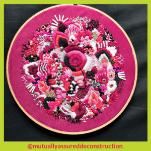 pink textures by Michelle Morgan Stitchery Stories Embroidery Podcast Guest