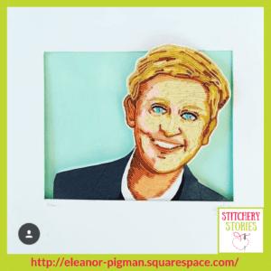 bead portrait of Ellen Degeneres by Eleanor Pigman Stitchery Stories Embroidery Podcast Guest (1)