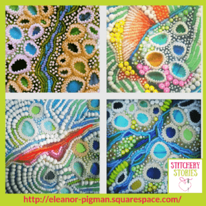 beaded tide pools by Eleanor Pigman Stitchery Stories Embroidery Podcast Guest