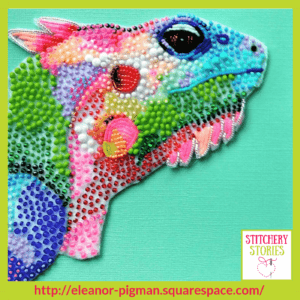 colourful reptile by Eleanor Pigman Stitchery Stories Embroidery Podcast Guest
