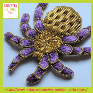 3D Purple & Gold Spider by Rie Wenham Stitchery Stories embroidery Podcast Guest