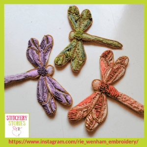 Dragonflies by Rie Wenham Stitchery Stories embroidery Podcast Guest (1)