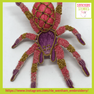 Pink 3D Goldwork Spider by Rie Wenham Stitchery Stories embroidery Podcast Guest