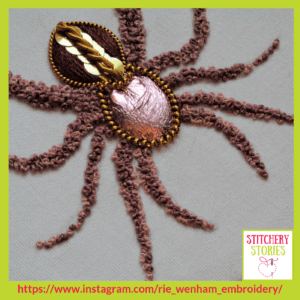 Spider hoop art by Rie Wenham Stitchery Stories embroidery Podcast Guest