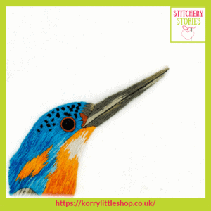 Kingfisher by Loetitia Gibier Stitchery Stories embroidery Podcast Guest