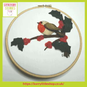 Robin Stumpwork Kit by Loetitia Gibier Stitchery Stories embroidery Podcast Guest