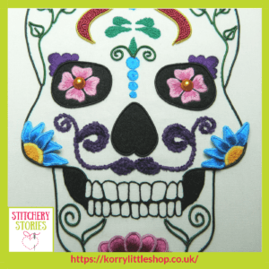 Sugar Skull by Loetitia Gibier Stitchery Stories embroidery Podcast Guest