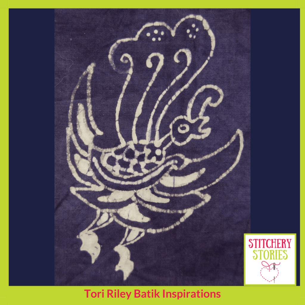 Batik bird by Tori Riley Stitchery Stories textile art Podcast