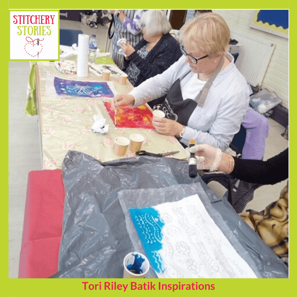 Batik workshop by Tori Riley Stitchery Stories textile art Podcast
