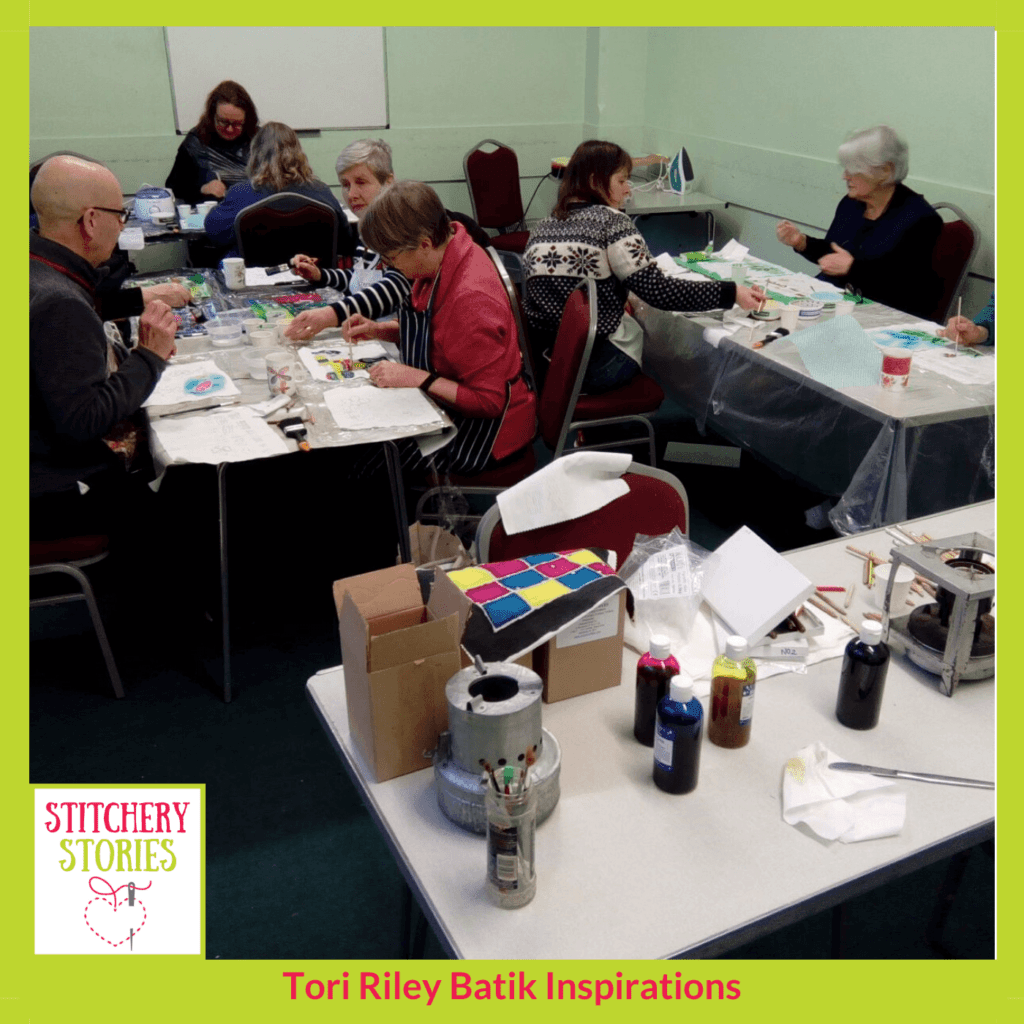 Enjoyable Batik workshop by Tori Riley Stitchery Stories textile art Podcast