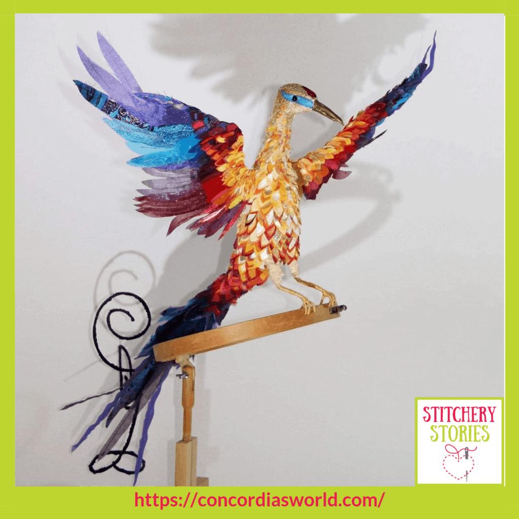 Princess Sophia Phoenix by Mary-Ann Toop Stitchery Stories textile art Podcast
