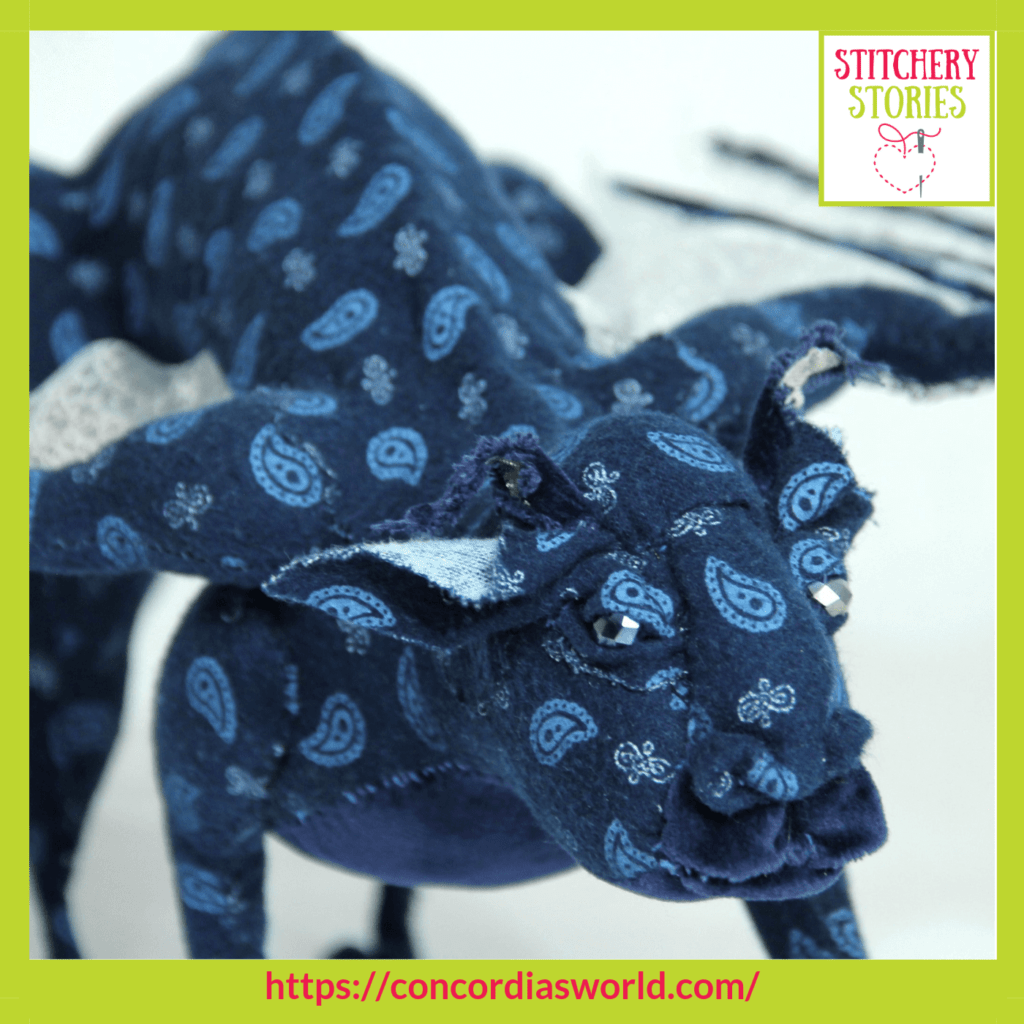 Servo the gargoyle by Mary-Ann Toop Stitchery Stories textile art Podcast
