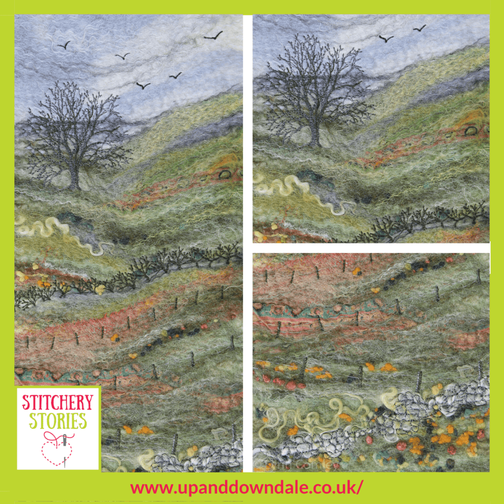 Autumn In The Dale Lynn Comley Stitchery Stories textile art Podcast