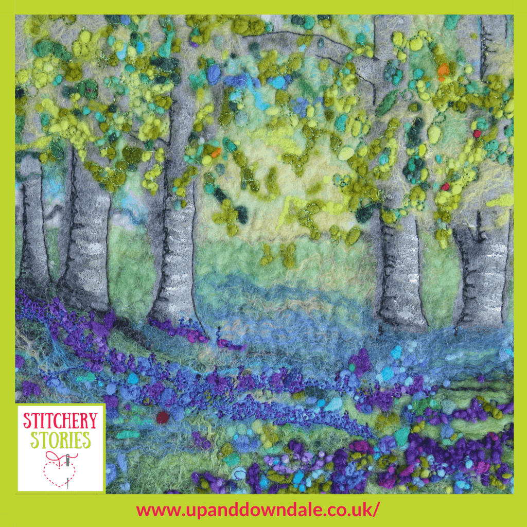 Bluebell wood Lynn Comley Stitchery Stories textile art Podcast