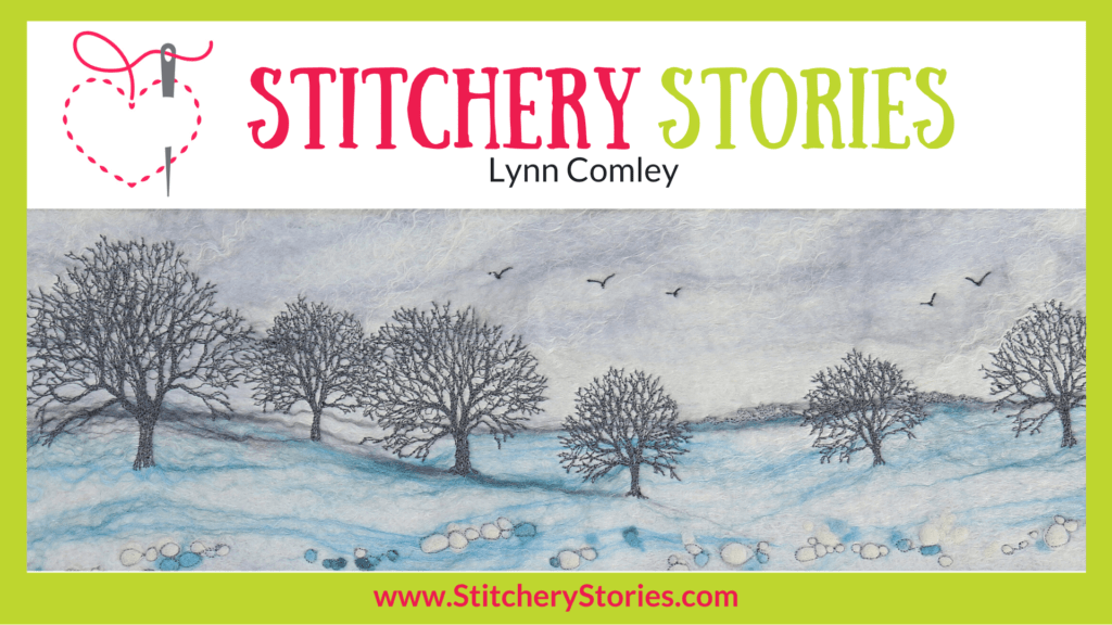 Lynn Comley Stitchery Stories Textile Art Podcast Wide Art