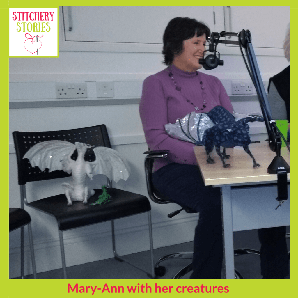 Mary-Ann Toop and textile creatures Stitchery Stories Live Podcast Social Club guest