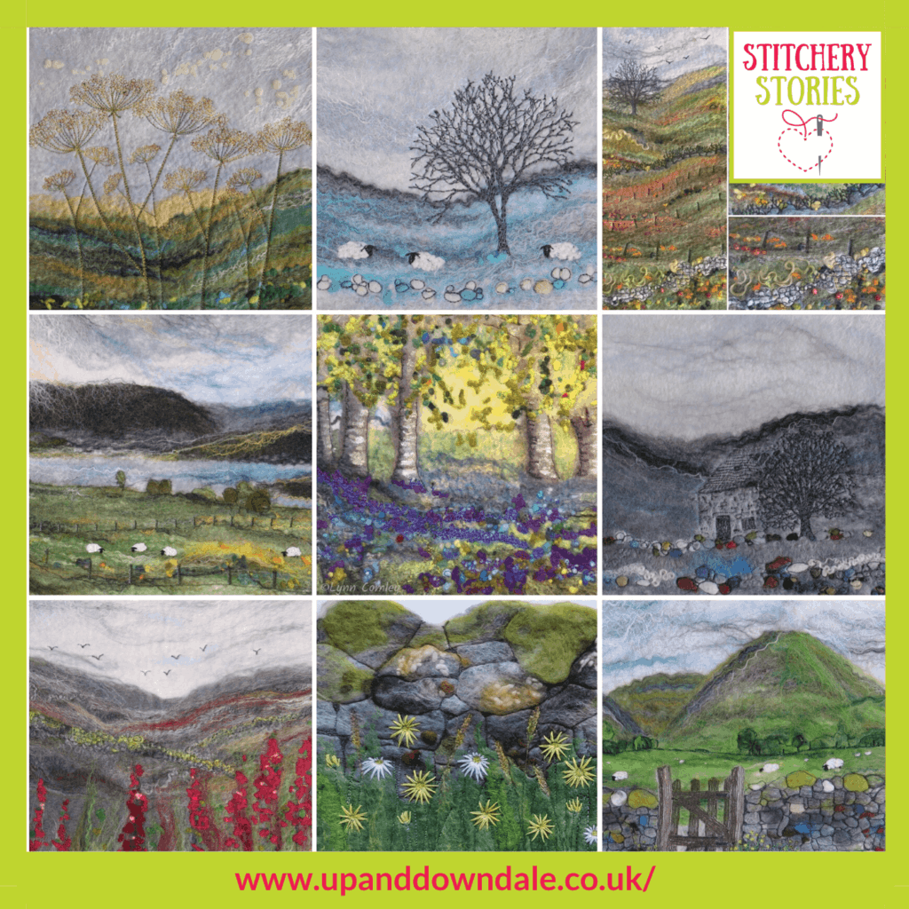 Montage of work by Lynn Comley Stitchery Stories textile art Podcast