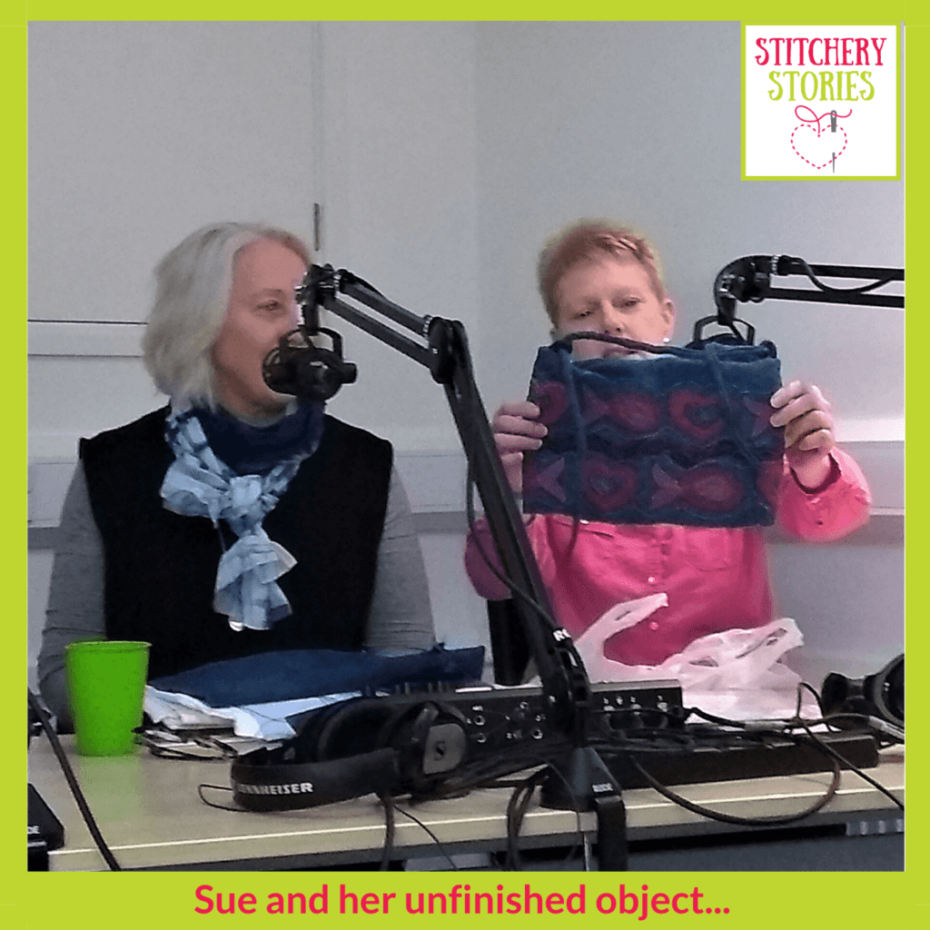 Sue with unfinished object Stitchery Stories Live host