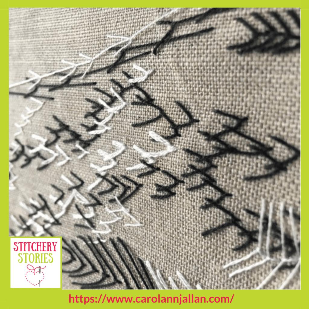 hand embroidery on linen CarolAnn J Allan Stitchery Stories textile art Podcast