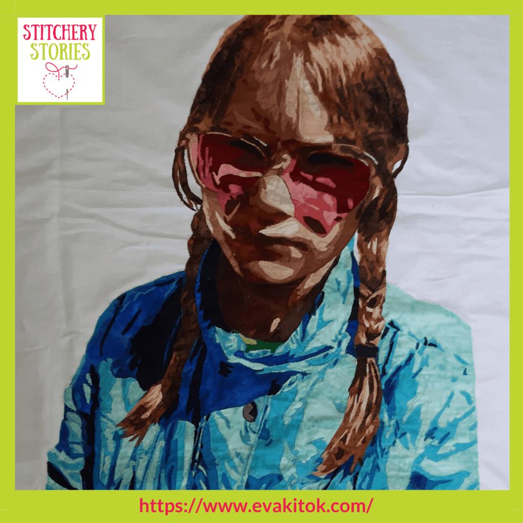 fabric applique portrait by Eva Kitok Stitchery Stories textile art Podcast