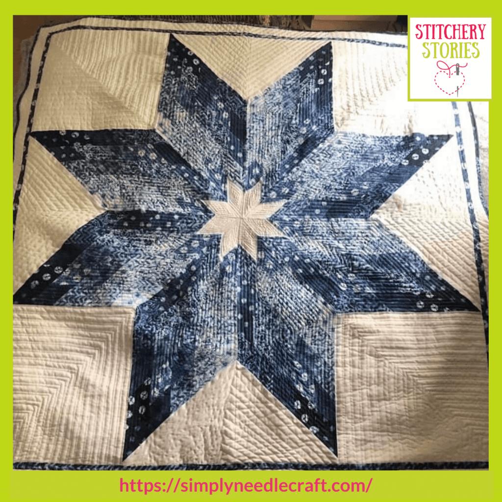 Blue Star quilt Ami James guest Stitchery Stories textile art podcast (1)
