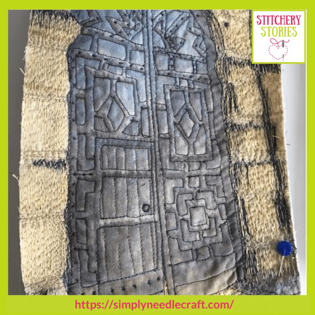 doorway wip Ami James guest Stitchery Stories textile art podcast