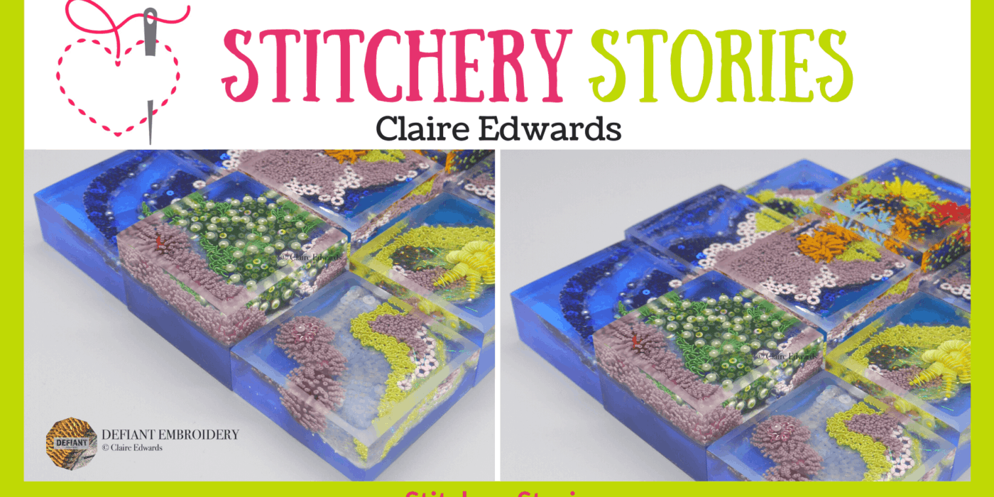 Claire Edwards guest Stitchery Stories embroidery podcast Wide Art