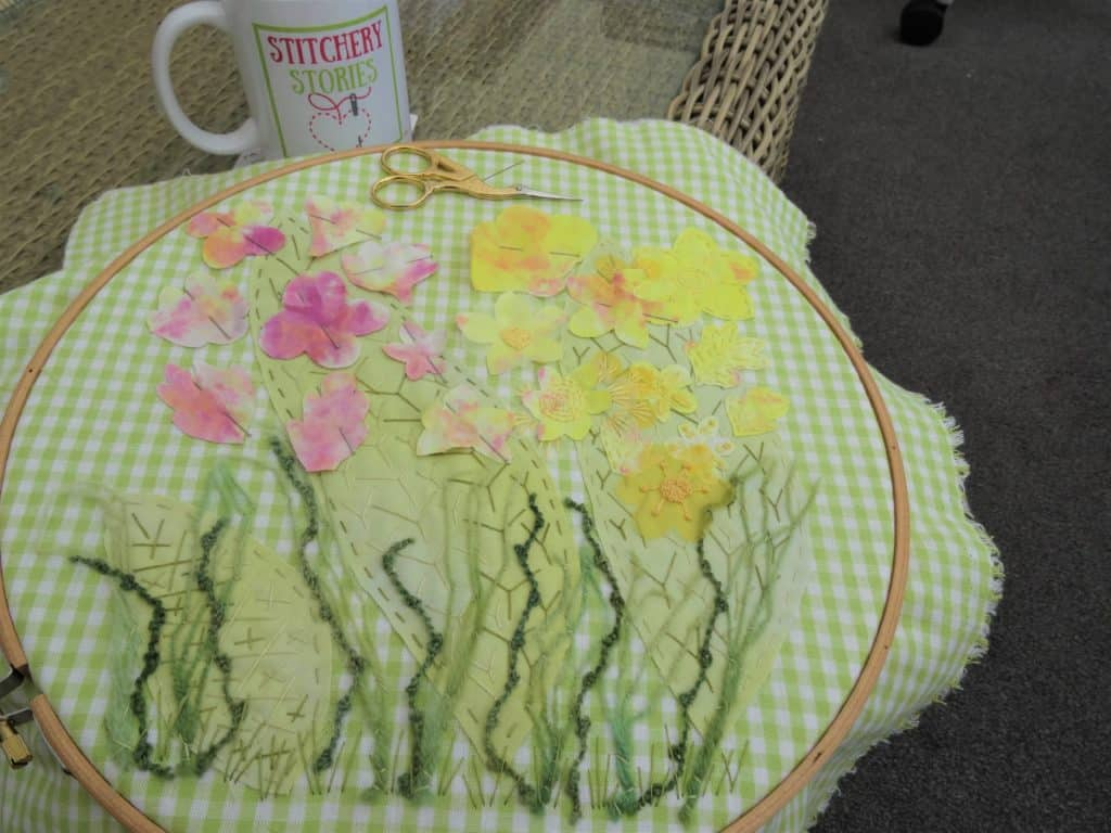 textile art pink and yellow spring flowers