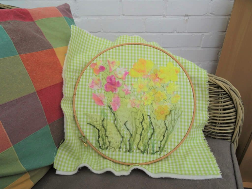 textile art inspired by spring flowers