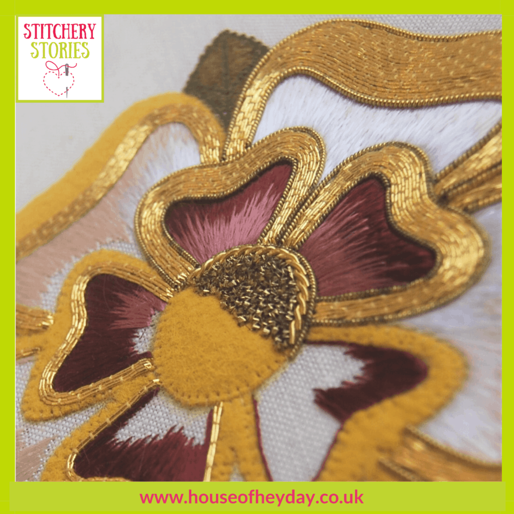 Goldwork tudor rose Jessica Aldred guest Stitchery Stories embroidery podcast