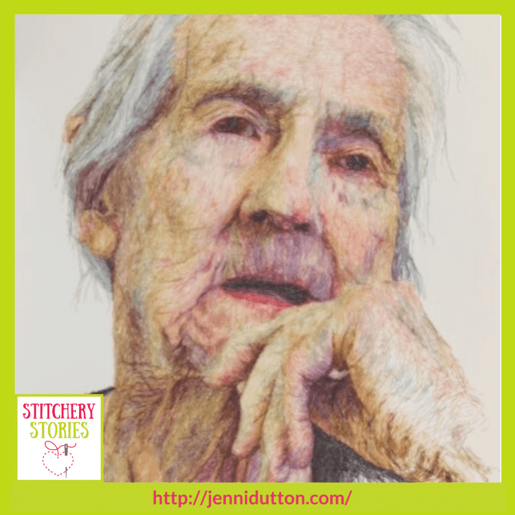 mum declining with dementia by Jenni Dutton guest Stitchery Stories textile art podcast