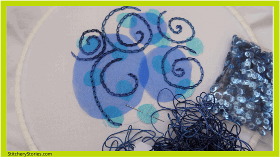 swirling sea chain stitch sampler after 2 hours may2020