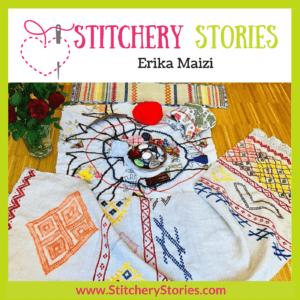 Erika Maizi guest Stitchery Stories Podcast Episode Art