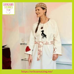 sacred destiny dress by Erika Maizi guest Stitchery Stories embroidery podcast