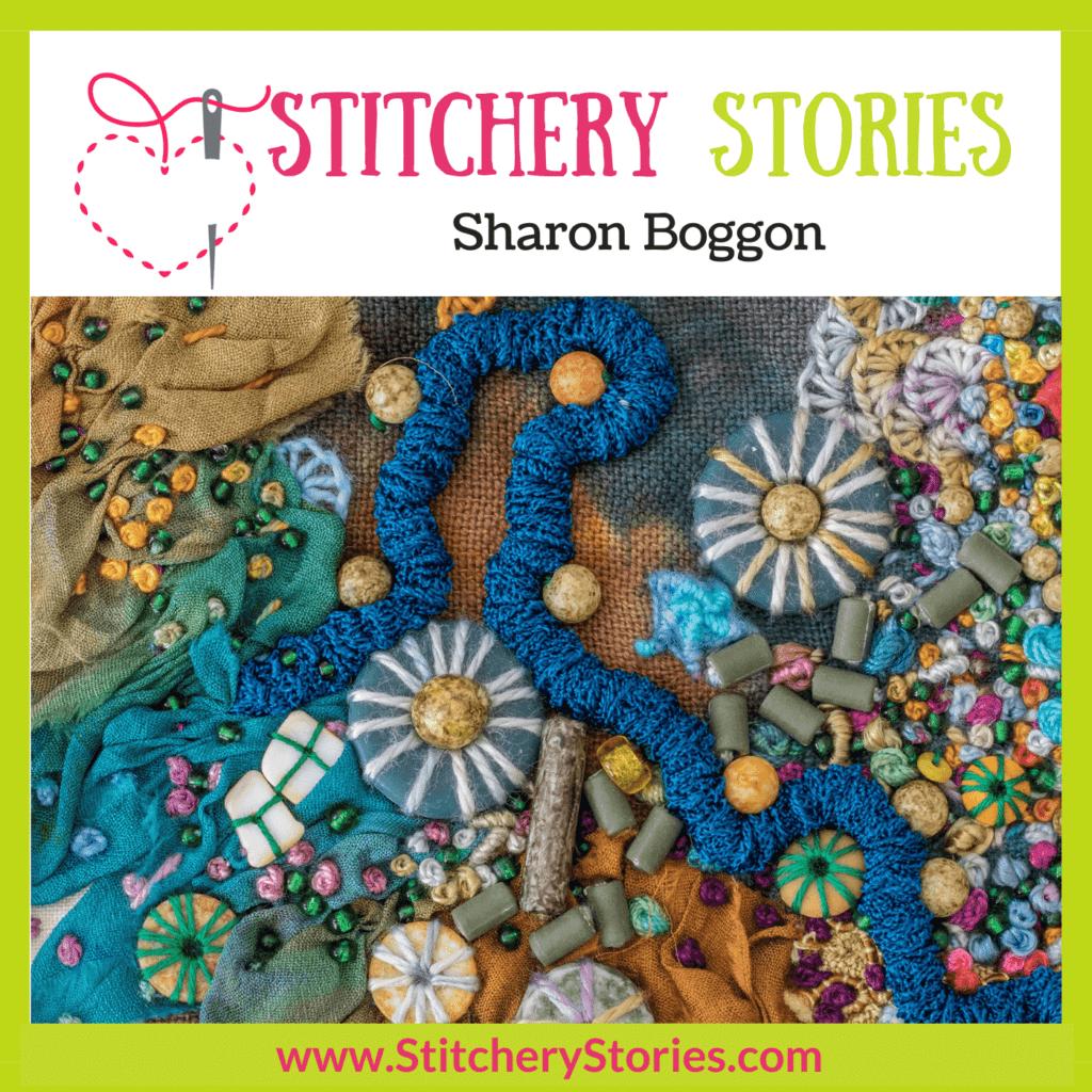 Sharon Boggon guest Stitchery Stories Podcast Episode Art